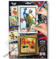 Раскраска карандашами по номерам Павлин Код: PBN-01-04 Изд: Danko Toys