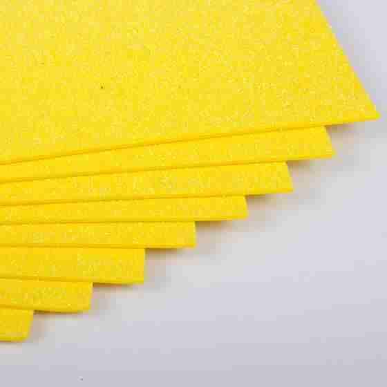 Фоаміран з глітером 20х30 см 10 аркушів 2 мм Арт. 7941 жовтий