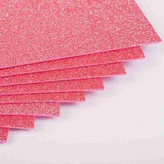 Фоаміран з глітером 20х30 см 10 аркушів 2 мм Арт. 7948 рожевий