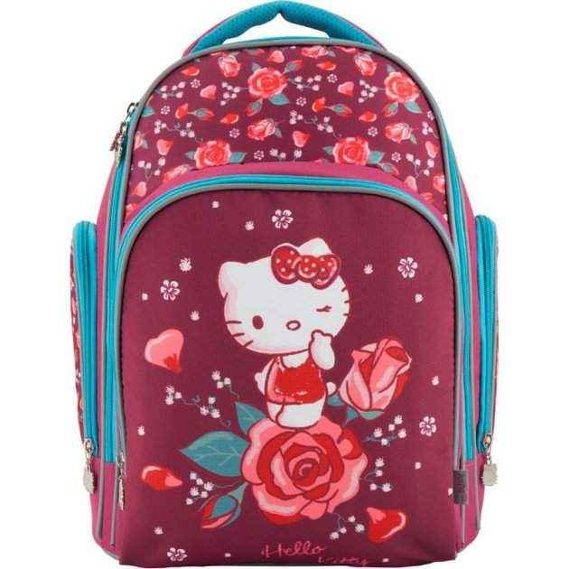 Ранець Kite Education Hello Kitty HK18-706M бордовий 38x29x16, 750 гр, полiетер, ортоп. сп. свiтловiд. ел.